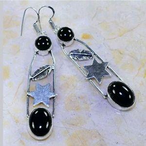 Navajo Design ~ Black Onyx Earrings 925